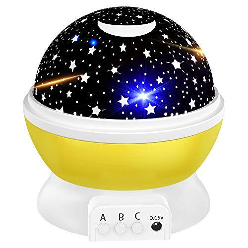 Tesoky Nachtlicht Kind, Geschenke Mädchen ab 2-12 Jahre, led Projektor Sternenhimmel Baby, Kinder Spielzeug Jungen 4 5 6 Jahre kinderspielzeug 2-12 Jahr, Geburtstaggeschenke (Gelb)