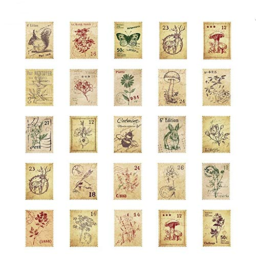 DESEACO Floral Mushroom Butterfly Rabbit SquirrelPostage Stamps Vintage Sticker Pack | Cute Decals for Laptops, Phone, Scrapbooking Supplies, Planners, Diary and Junk Journaling Supplies (92 PCs)