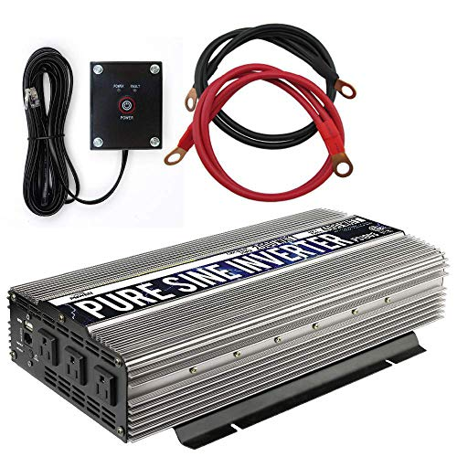 GoWISE Power 2000W Pure Sine Wave Power Inverter 12V DC to 120V AC with 3 AC Outlets + 1 5V USB Port, Remote Switch and 2 Battery Cables (4000W Peak) PS1003