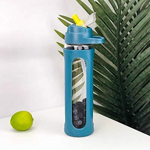 Botella de agua de cristal minimalista con paja de plástico de silicona, funda protectora portátil a prueba de fugas, para deportes, senderismo, viajes, taza de agua (color azul)