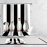 Beddingleer Antarktischer Pinguin Duschvorhang Anti-Schimmel 180x200 cm Bad Duschvorhang textil Wasserdicht & Mildewproof aus 100prozent Polyester