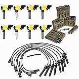 MCK 8pcs Racing Ignition Coil Tune up Wire set & Spark Plugs Compatible with 5.7L V8 Hemi 2005 Chrysler 300, 04-05 Dodge Durango 2005 Dodge Magnum 03-05 Dodge Ram 2005 Grand Cherokee