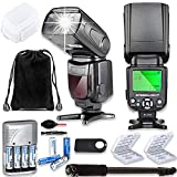 TTL Speed Light Flash for Canon DSLR Cameras EOS Rebel T3, T4, T6, T1i, T2i, T3i, T4i, T5i, T6i, T7i + Monopod + 4 AA Rechargeable Batteries & Charger + 2X Battery Case + Accessory Bundle