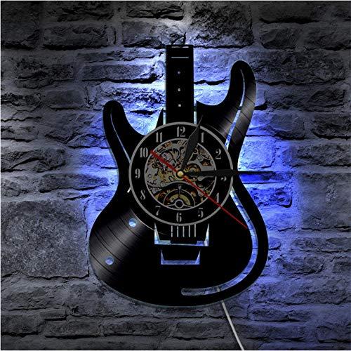 Wanduhr aus Vinyl Schallplattenuhr Upcycling 3D LED Gitarre Design-Uhr Wand-Deko Vintage Familien Zimmer Dekoration Kunst Geschenk, Durchmesser 30 cm- Mit LED