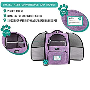 PetAmi Deluxe Pet Carrier Backpack for Small Cats and Dogs, Puppies   Ventilated Design, Two-Sided Entry, Safety Features and Cushion Back Support   for Travel, Hiking, Outdoor Use (Heather Purple)