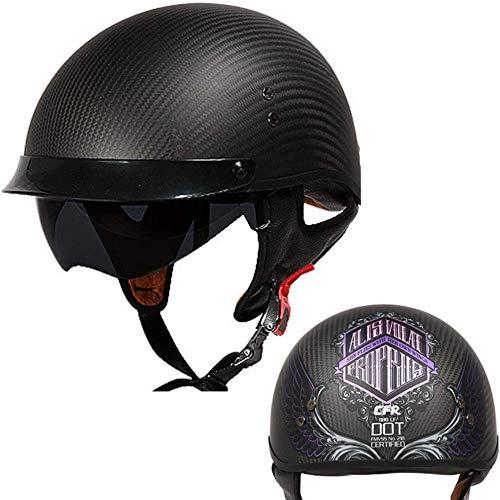 ZHXH Harley Motorradhelm, Carbon Fiber Retro Retro Herren und Damen Four Seasons Helm Abnehmbares Futter, gemäß Dot-Zertifizierung und Ece-Standards/eine Vielzahl von optionalen,