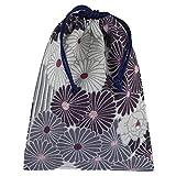 Japanese Drawstring Bag, 9.8 x 7.5 inches (25 x 19 cm), Made in Japan, Japanese Pattern (Retro Flower / Black)