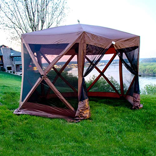 BACKYARD EXPRESSIONS PATIO · HOME · GARDEN Easy Up Popup Tent Camping Gazebo With Mosquito Screen Canvas Sides 12'x12' Family Sized Multiple Person Outdoor Canopy Shade Tents
