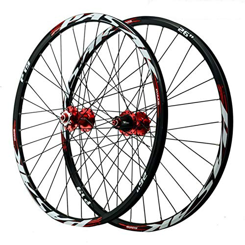 Ruedas de Bicicleta 26/27.5/29 Pulgadas, Llanta MTB de Doble Pared Aleación de Aluminio 32 Hoyos Freno de Disco Volante 12 Velocidades (Color : Red, Size : 29in)