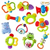 WISHTIME Rassel Beißring Set Baby Spielzeug - Shaker Greifen Rassel Baby...