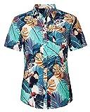 Loveternal Camisa Hawaiana Hombre Botón Abajo Camisa Flores Amarilla Algodón de Manga Corta Camisa Flowers Estampada 3D Vacaciones Hawaii Shirt M