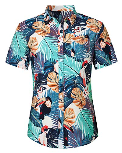 Loveternal Camisa Flores Hombre Camiseta Flowers Estampada Hawaiana Vacaciones Impresa 3D Funky Summer Cotton Flores Shirt L