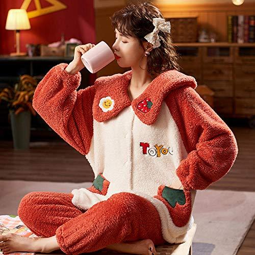 Cxypeng Pyjama Schlafanzug,Langärmeliger Winterkorallensamtpyjama für Damen, Dicker...