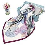 LA FERANI – Pañuelo de seda de lujo, 90 x 90 cm, para mujer, con aspecto de seda y sensación, para otoño, diseño lila, bufanda, bufanda multifunción, pañuelo para el cuello, accesorio para mujer