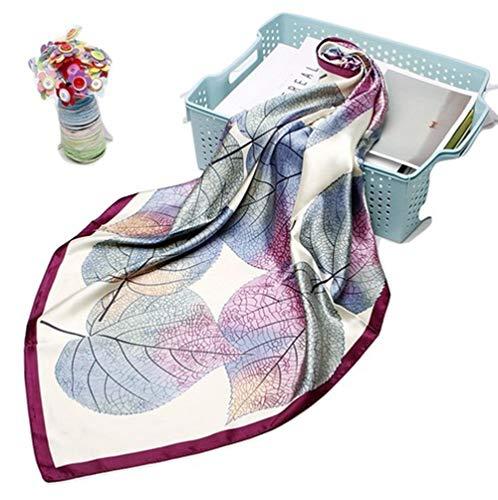 La Ferani Lussuoso foulard di seta da 90 x 90 cm, sciarpa da donna con motivo autunnale di colore viola, ideale per il lavoro e gli incontri formali, foulard multifunzione, sciarpa invernale