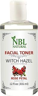 NBL Natural Alcohol-Free Witch Hazel with Aloe Vera Formula Toner, Rose Petal, Skin-Purifying Face Toner, 12 oz / 355 ML