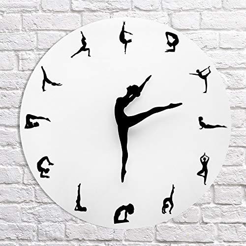 DC Wesley Mute Cara Salón Reloj De Pared Decorativo De Moda DIY DIY Creativo De Los Relojes Patrón De Fondo De Yoga (30 * 30 Cm)