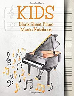 Blank Sheet Music Notebook Kids: Wide Staff Music Manuscript Paper | Grey and Orange Music Notes (Piano Music Composition Books)
