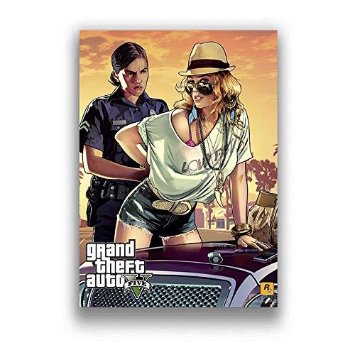 H/F Grand Theft Auto 5 HD Juego Lienzo Póster DIY Estilo Nórdico Moderno Decoración De Sala De Estar Familiar Mural Sin Marco 40X50Cm 5586