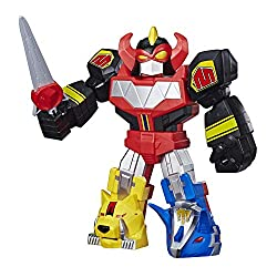 MIGHTY MORPHIN POWER RANGERS MEGAZORD FIGURE: Imagine teaming up for battle with the Power Rangers when they combine their Dinozords to form the Mighty Morphin Megazord POSEABLE FUN: The 12-inch Mega Mighties Power Rangers Megazord toy features 6 poi...