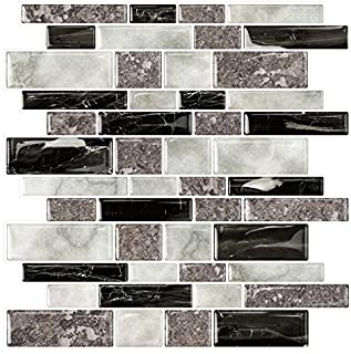 STICKGOO Marble Look Peel and Stick Tile Backsplash, Kitchen Backsplash Peel and Stick, Decorative Self Adhesive Backsplash Tiles in Granite (Pack of 10, Thicker Design)