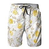 Aerokarbon Pantaloncini da Surf da Uomo,Tessili di Rose Pastello Trama Senza Soluzione di continuità,Costume da Bagno con Fodera in Rete ad Asciugatura Rapida S