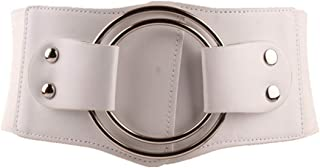 LUKEEXIN Womens Belt Elastic Stretch Cinch Waistband Ornament Lady Cummerband (Color : White)