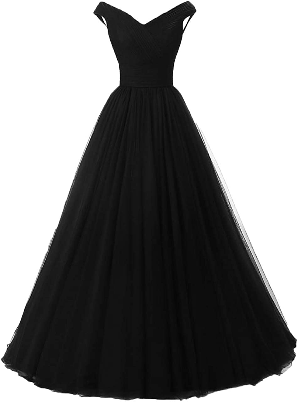 Huifany Women's Off The Shoulder Tulle Prom Evening Dresses Floor Length Formal Gowns