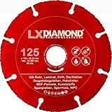 LXDIAMOND Disco da taglio in metallo duro, 125 mm x 22,23 mm, lama per sega per parquet WPC, legno, plastica, laminato, kg, per smerigliatrice angolare 125 mm