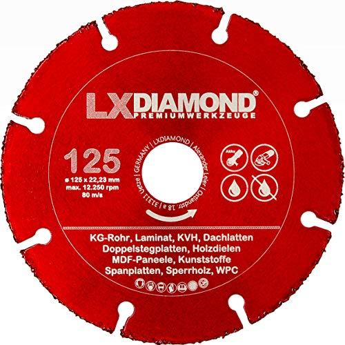 LXDIAMOND Hartmetall Trennscheibe 125mm x 22,23mm Sägeblatt für Parkett WPC Holz Kunststoff Laminat KG für Winkelschleifer 125 mm