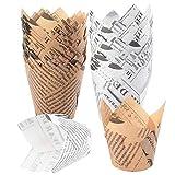 afdg Cupcake Tulipano, 100 Pezzi Custodie per Muffin, Pirottini di Carta da Forno, Astucci per Cupcake per Corsi di Panificazione Utensili e Accessori per Forni da Cucina (Marrone e Bianco)