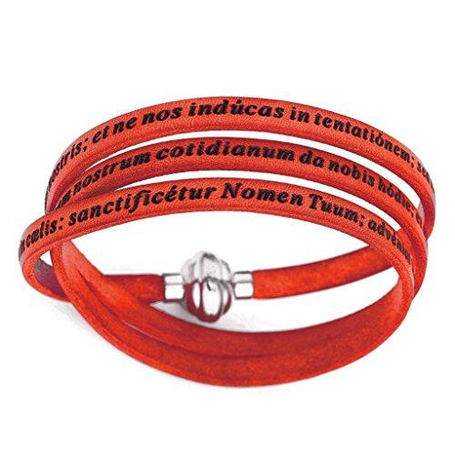 Bracciale in Pelle Amen - Collezione Classic - Colore Corallo - Misura 57 Padre Nostro Latino