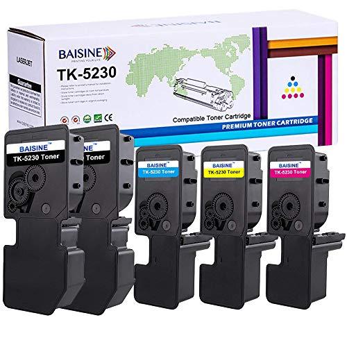 BAISINE 5-Pack Kompatibel Kyocera TK-5230 TK5230 Toner-Kartusche TK-5230K TK-5230C TK-5230Y TK-5230M 1T02R90NL0 1T02R9CNL0 1T02R9BNL0 1T02R9ANL0 Toner für ECOSYS M5521cdn M5521cdw P5021cdn P5021cdw