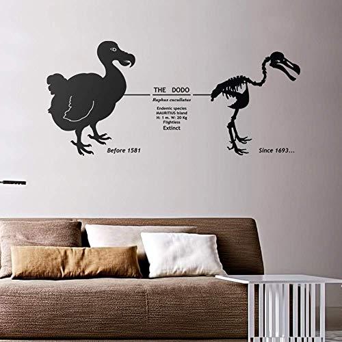 Dierlijke muursticker Dodo wanddecoratie Mauritius uitgestorven vogel met datum Skeleton Vinyl Sticker Slaapkamer Decor 42X90Cm