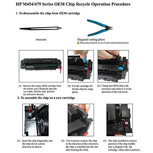BAISINE - 4 Cartuchos de tóner para HP Color Laserjet Pro MFP M479fdw, M479fdn, M454dw, M454, M454dn (Negro, Cian, Magenta, Amarillo)