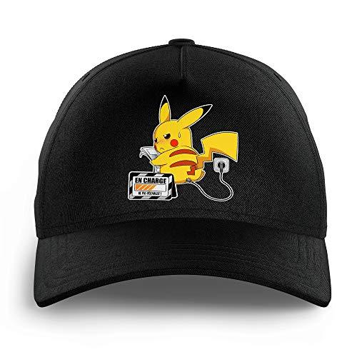 Okiwoki Kinder-Kappe, Schwarz, Pokemon Parodie – Pikachu – in Beladung – Hochwertige Kappe – Einheitsgröße verstellbar – bedruckt in Frankreich)