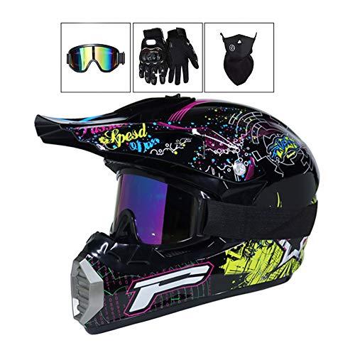 LEENP Motocross-Helm Herren Cross-Helm Motorradhelm Sets mit Brille/Maske/Handschuhe, Motorrad Sports Quad Motorräder DH Enduro-Off-Road-Helm für Männer Damen, Schwarz,S