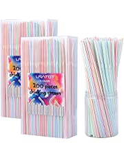 URATOT 400 Pieces Flexible Plastic Drinking Straws 8 Inches Long Multi Colored Striped Bendable Straws (400)