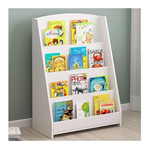 WYZ-- Kinderbücher Regal 4 Schichten Bücherregal Umwelt MDF Boy & GirlStorage Fun Bücherregal-Wand Bücherregal Weiß Blau Farbe - 60 * 30 * 88cm (Color : A)