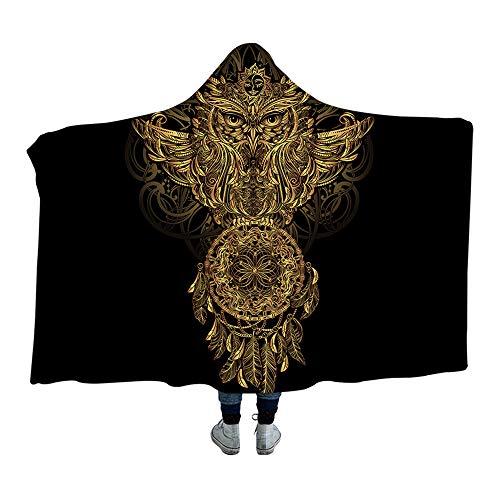 Wzz Goldene Tier Sammlung Decke Mit Kapuze Schildkröte Sherpa Fleece Wearable Decke Delphin Eule Decke,B,150 * 200cm