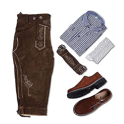 McWilliams Lederhosen Men's Authentic Bavarian German Brown - Oktoberfest Leather Trousers (German 50 / US 34, Dark Brown) by