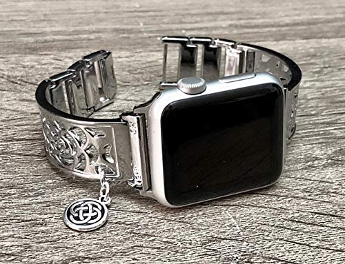 Shiny Silver Metal Bracelet For Apple Watch Series 6 5 4 3 2 1 38mm 40mm 42mm 44mm Handmade Flowers Design Jewelry Apple iWatch Band Celtic Knots Charm Adjustable Size Apple Watch Bangle