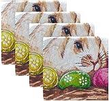 BONRI Juego de 4 servilletas de Tela Lavables de poliéster con Huevo de Pascua de Color Conejo en el Nido para Mesa de Comedor, Banquete de Boda, Vacaciones de otoño 20'X20'