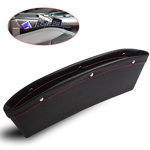 HaloVa Car Pocket Organizer, Premium PU Leather Console Gap Filler, Universal Car Seat Slit Filler and Side Pocket Catcher Caddy, Automobile Storage Interior Car Accessories, Black