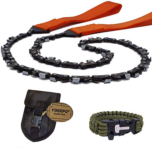 YOKEPO Survival Pocket Chainsaw Folding Hand Saw Chain 33 Serrated 3x faster 24 inch Hand Saw with Orange Straps Camping saw for Wood cutting Hiking Survival Bracelet Whistle Wristband and Firestarter