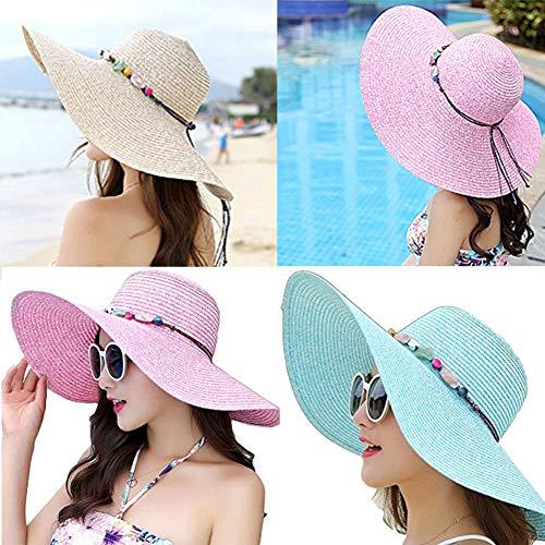 Youkara 1 Pc Sombrero de Paja de La Visera del Verano Señoras del Verano Sombrero Al Aire Libre de La Playa Big Bang Plano a Lo Largo de Sombrero Sólido (2)