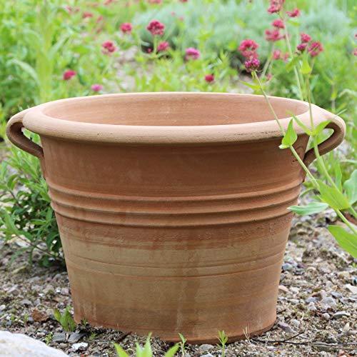 Kreta Keramik frostfester Blumentopf/Übertopf aus echter Terracotta | 45 cm | hochwertiger Pflanzkübel zum bepflanzen | Garten Deko Terrasse (Sorbus)