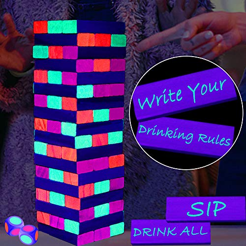 Black Light Tumble Tower -Glowing Blocks Tumble Tower Suitable for Day Or Night,Games for Adults Party or Drinking Games Stacking Games