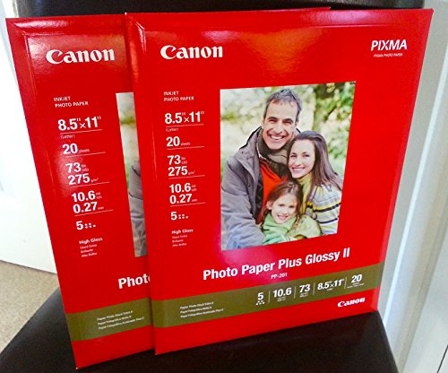 Canon Photo Paper Plus Glossy Ii, 8.5 X 11 Inches, 40 Sheets (2 Packs, Each 20 Sheets)