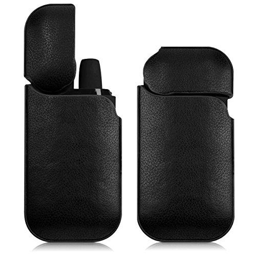 kwmobile Funda Compatible con IQOS 2.4/2.4 Plus Pocket Charger - Carcas de Cuero sintético para vapeador - Cover Negro